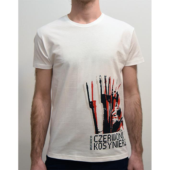 """7e4b8a0d1 Koszulka """"Czerwoni Kosynierzy"""" Kolor tkaniny biały, 100% bawełna  stabilizowana, sitodruk, metka """"Lewacka Szmata""""."""